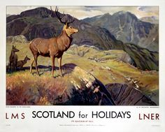 Scotland For Holidays,Deer Stalking in the Highlands, Scottish Railway Travel Art Poster Print, LMS Retro Poster, A4 Poster, Poster Prints, Posters Uk, Train Posters, Poster Wall, Deer Stalking, Vikings, National Railway Museum