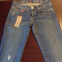 Peoples Liberation Medium wash denim jeans Brand new. Very comfortable. Flare leg People's Liberation Jeans