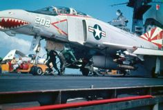 McDonnell Douglas F-4B Phantom II • F-4B Phantom II about to be launched from the aircraft carrier USS Coral Sea during a deployment to Vietnam in 1971/72. The F-4B is armed with AIM-9D Sidewinder missiles and Mk 82 (500 lb/227 kg) bombs. The relatively small weapons load was typical for Coral Sea due to the limited catapult capacity.