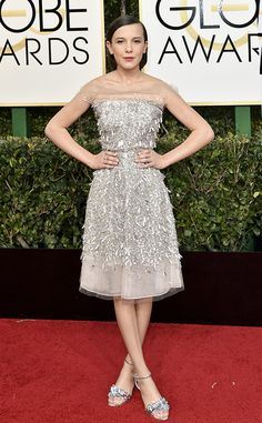 Millie Bobby Brown in Jenny Packham from 2017 Golden Globes Red Carpet Arrivals - perfection for a 15 year old!