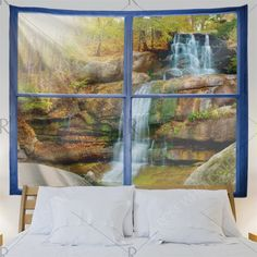 Wall Hanging Art Decor Window Forest Falls Print Tapestry - W59 Inch * L59 Inch Mobile