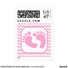 Charming Stylish Pink Foot Prints Baby Shower Stamp