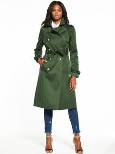 V by Very Double Breasted Trench Coat A timeless classic for your autumn and winter wardrobe, this double breasted trench will see you through the seasons, whatever the weather. We love the bold collar and flattering cinched-in waist, while the military-inspired khaki hue will toughen up your look. Styling Ideas Wear it over a fine knit and distressed skinny jeans for a sophisticated off-duty look.Washing Instructions: Machine WashableCoats & Jackets Style: TrenchCotton sateen trench with...