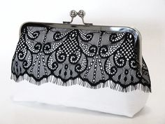 White silk dupioni with an overlay of black Victorian eyelash lace Clutch Bridal Clutch, Wedding Clutch, Black And White Purses, Black Tie, Moda Hippie, Bridesmaid Clutches, Bridesmaid Dresses, Diy Sac, Frame Purse