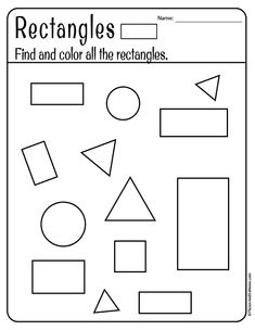 Free printable shapes worksheets for toddlers and preschoolers. Preschool shapes activities such as find and color tracing shapes and shapes coloring pages. Shape Worksheets For Preschool, Preschool Craft Activities, Pre K Worksheets, Shapes Worksheets, Free Preschool, Preschool Printables, Preschool Lessons, Preschool Learning, Kindergarten Worksheets