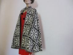 60s Vintage Mod Hippie Cape Woven Wool Ethnic by PaisleyBabylon, $98.00