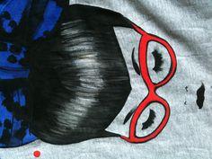 Mary hand painted illustration on jersey handmade dress Betti!!! Www.gretapigatto.it SHOP online