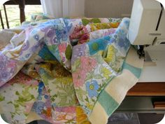 ive been collecting the sheets for this quilt for years. . .