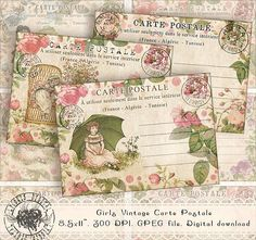 ATC Cards Printable Carte Postale Post Card Collage Sheet