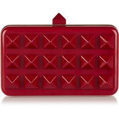 Valentino Studded acetate clutch ($1,969) ❤ liked on Polyvore featuring bags, handbags, clutches, purses, red clutches, studded handbags, chain handle handbags, chain strap purse and red studded purse