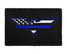 Batman Thin Blue Line Flag Tactical Velcro Fully Embroidered Morale Tags Patch