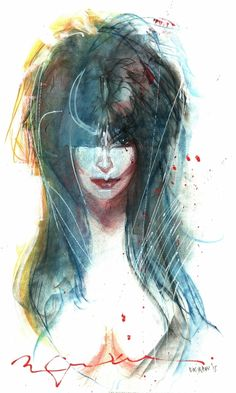 Elvira by Bill Sienkiewicz   totally cool and beautiful