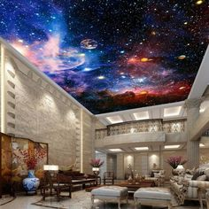 Galaxy Nubela Outerspace 00081 Ceiling Wall Mural Wall paper Decal Wall Art Print Decor Kids wallpaper - Home stuff - Art