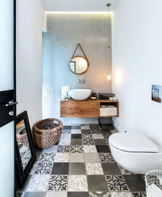 """This beautiful industrial chic home in Tel Aviv, Israel, was planned for a family of four. Architect studio NeumanHayner designed two cubes separated by a passage, creating an """"L"""" shaped house. The fr Decor, Wooden Bathroom, L Shaped House, Bathroom Inspiration, Bathroom Decor, Trendy Bathroom, Interior, Beautiful Bathrooms, House Interior"""