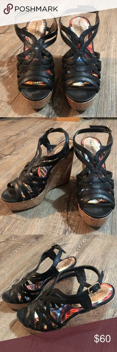 Steve Madden Black Strappy Wedges Very comfortable, black Steve Madden wedge. Never worn. Steve Madden Shoes Heels