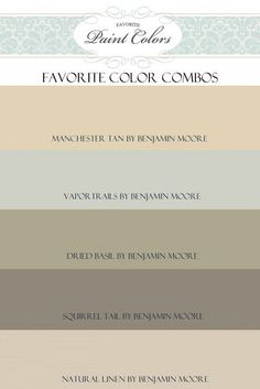 Paint Color Combos. Favorite Color Palette Combos. #ColorPalette #FavoriteColorCombos Via Favorite Paint Colors Blog.