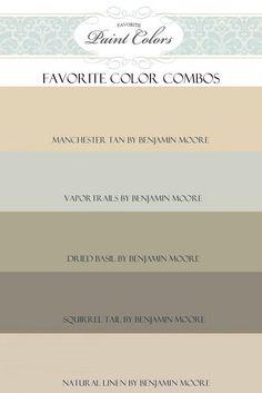 Paint Color Combos. Favorite Color Palette Combos. #ColorPalette #FavoriteColorCombos Via Favorite Paint Colors Blog.