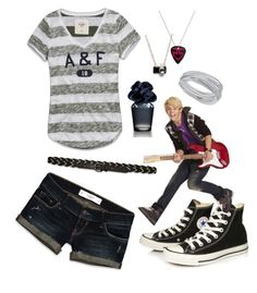 """R5 Day 6"" by jade-ross32 ❤ liked on Polyvore featuring Abercrombie & Fitch, Hollister Co., Swarovski and Converse"