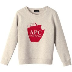 Apple sweatshirt - grey chiné - A.P.C. WOMAN ❤ liked on Polyvore