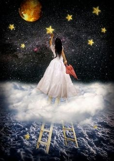 When you try your hardest to reach for the stars, to no avail, then climb a ladder and grab one. (The Door in the Sky) #books #fantasy