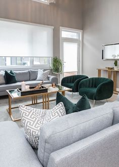 Light gray, gold and emerald green combine for the perfect Classic Modern Living Room bohemian living room green Light gray, gold and emerald green combine for the perfect Classic Modern Living Room Design Living Room, Living Room Accents, Living Room Green, Accent Chairs For Living Room, Living Room Lighting, Living Room Furniture, Living Room Ideas Velvet, Living Room Decor With Grey Sofa, Mirrors In Living Room