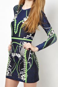 Blue Long Sleeve Geometric Leopard Print Bodycon Dress
