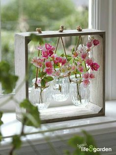 Sweet triptych of vases - Best Home Crafts - Vase ideen Garden Art, Home And Garden, Garden Ideas, Creation Deco, Deco Floral, Wooden Decor, Wooden Box Crafts, Wood Projects, Craft Projects