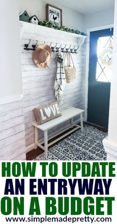 See how we updated our small entryway on a budget and check out the before and after pictures! Decorate A Small Entryway with Bench and Hooks, entryway door, entryway storage bench, storage benches, e Small Storage Bench, Small Entryway Bench, Farmhouse Entryway Table, Entryway Hooks, Small Entrance, Entryway Bench Storage, House Entrance, Entryway Ideas, Farmhouse Small