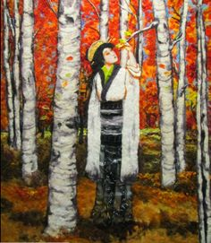 Felted Wool Painting-birch trees-Wow, this is amazing