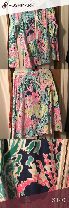 EUC Lilly Pulitzer Let's Cha Cha popover EUC newer blue indigo color way. Normal wash and wear with popovers, hardly any piling. Has not been worn for some time. Will do less through 🅿️🅿️ **NO LONGER AVAILABLE** no trades! Lilly Pulitzer Tops Sweatshirts & Hoodies