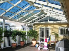 I want a tall gabled pergola with either shade cloth or clear roofing like this