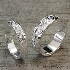 Sterling Silver Wedding Band Set Hand Engraved with by HappyLaulea