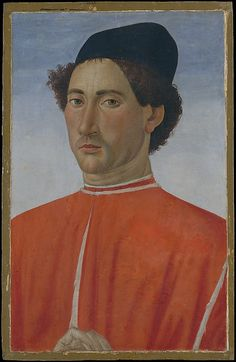 Portrait of a Man ~ Artist: Cosimo Rosselli (Italian, Florence 1440–1507 Florence) ~ ca.1481-1482 ~ Tempera on wood ~ The sitter wears a costly red doublet lined in ermine and places his hand on the edge of the frame, in a manner found in the Netherlandish portraits of Hans Memling. Metropolitan Museum of Art