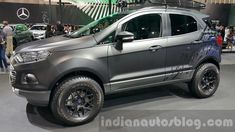 Ford EcoSport custom front three quarters left close at 2015 Thailand Motor Expo Ford Ecosport, Ecosport 2014, Blacked Out Cars, Goodyear Wrangler, All Black Looks, Compact Suv, Gasoline Engine, Jeep Cars, Car Wrap