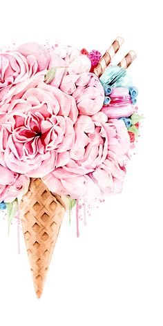 Flowers illustration wallpapers new ideas Flowers Illustration, Illustration Blume, Ice Cream Illustration, Watercolor Illustration, Cute Wallpapers, Wallpaper Backgrounds, Iphone Wallpaper, Ice Cream Wallpaper Iphone, Flamingo Wallpaper