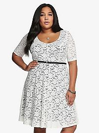 TORRID.COM - Belted Lace Skater Dress