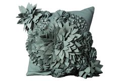 One Kings Lane - In the Mix - Pop Flower 20x20 Pillow, Sky Blue