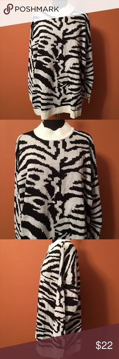 Zebra Print Mock Neck Sweater Plus size sweater, in good condition, size 2X great zebra print Denim 24/7 Sweaters