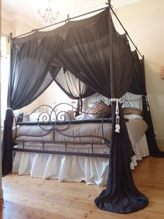 Four Poster Bed Canopy Mosquito Net 155cmx205cm Brown