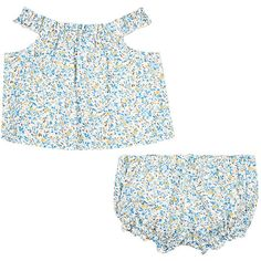 Baby CZ Floral Cotton Top & Bloomers Set (620 MAD) ❤ liked on Polyvore featuring blue