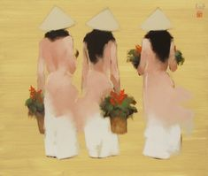 Young girls in pink by Vietnamese Artist Nguyen Thanh Binh