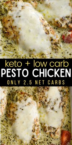 This Easy Pesto Chicken has just 2.5 net carbs per serving, making it a low carb, keto-friendly dinner that is impressive enough for guests! #keto #lowcarb #chicken