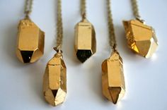 gold dipped crystal necklaces by Pigeon Toe. #gold #necklace #crystal