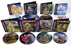 A series of special limited edition IRON MAIDEN vinyl picture disc albums.  via http://www.ironmaiden.com/vinyl-picture-discs-coming-soon.html