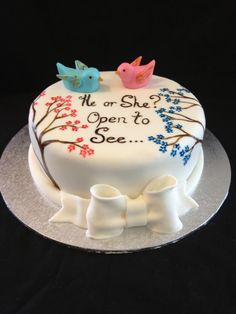 Cute Gender Reveal Cake! Come into Stork 4D Imaging Studio for a gender session ONLY $39!!!!! www.storksnapshots.com