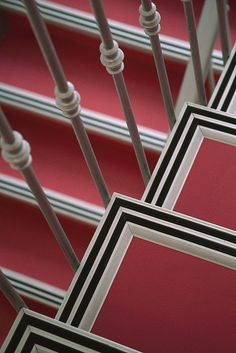 size: Photographic Print: Pink Stairs with Black and White Trim at a Hotel in Nice by David Evans : Artists Black And White Stairs, Black White, David Evans, Orange Rooms, Framed Artwork, Wall Art, Staircase Remodel, Unique Flooring, Foyer Design
