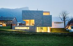 Haller Jürgen together with Peter Plattner designed the House Haller in Mellau, Austria. The entire design of this compact house conforms to the location a Futuristic Architecture, Contemporary Architecture, Interior Architecture, Interior Design, Contemporary Homes, Residential Architecture, Modern Mountain Home, Compact House, Villa