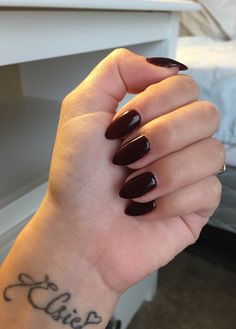 Fall nails, almond nails Dark red