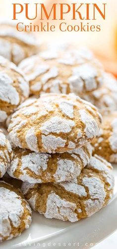 Pumpkin Crinkle Cookies soft and sweet with plenty of pumpkin flavor and pumpkin pie spice these easy to make cookies are the perfect fall bite pumpkin pumpkincrinklecookies crinklecookies cookies dessert fallcookies autumnbaking Fall Baking, Holiday Baking, Thanksgiving Baking, Christmas Baking, Thanksgiving Recipes, Cookies Et Biscuits, Cookies Soft, Cream Cookies, Chocolate Crinkle Cookies