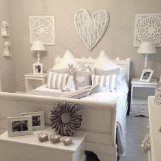 Grey walls, white furniture.